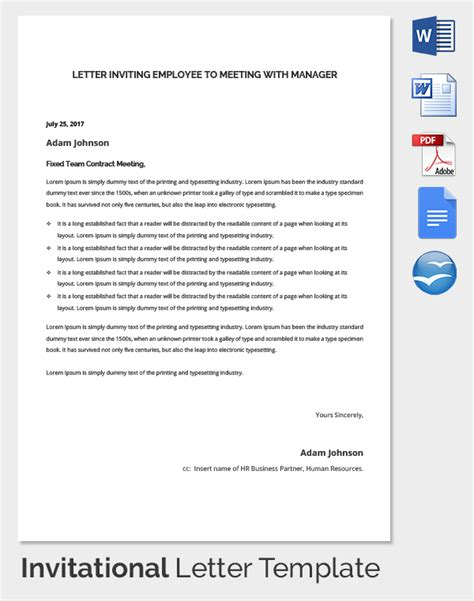 Invitation Letter To Disciplinary Meeting Sle Disciplinary Meeting Invite Letter Hr Invitation Letter Template 25 Free Word Pdf
