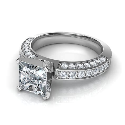 3 sided pave princess cut engagement ring