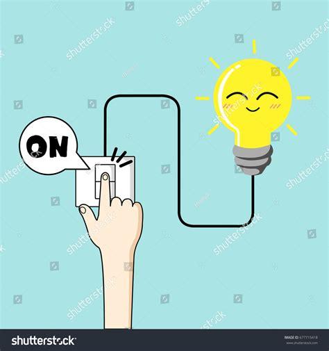 turn on light switch turn on light vector finger turn stock vector 677715418