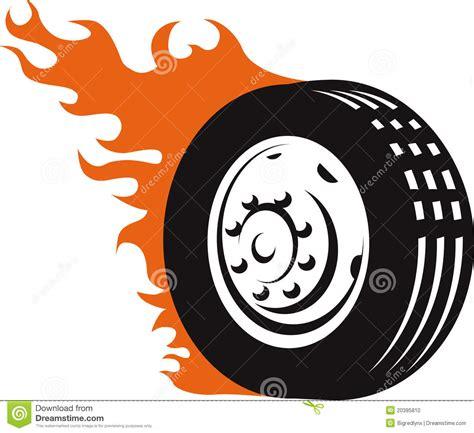 fiery racing tire stock vector illustration  race