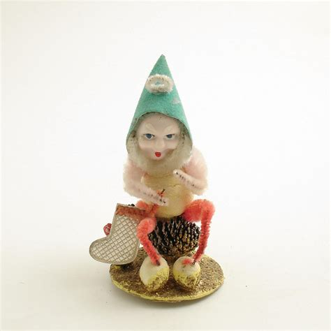 vintage christmas ornament pinecone elf gnome w by efinegifts