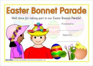 Easter Bonnet Printable Templates by Easter Bonnet Certificates Sb2210 Sparklebox