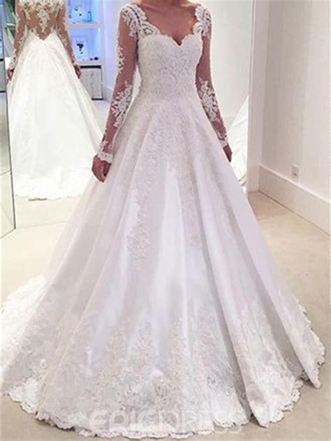 fotos de vestidos de novia arabes ericdress elegantes apliques una l 237 nea de manga larga