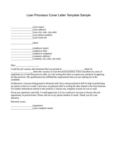 Consumer Loan Processor Cover Letter by Free Printable Loan Template Form Generic