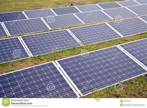 Backyard Solar Panels by Solar Panels In The Grass Stock Image Image 34318441