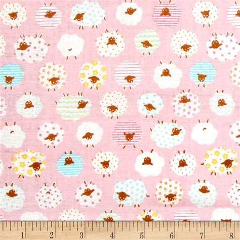 patterned gauze fabric cosmo the flock sheep printed double gauze pink discount