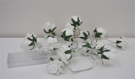 garland with led lights garland with 20 white mini roses with white led lights