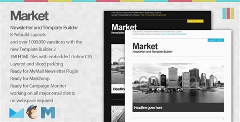 market email newsletter and template builder
