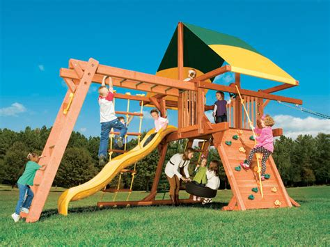 playhouse swing set combo woodplay playhouse xl 5 swing set combination 1 75h