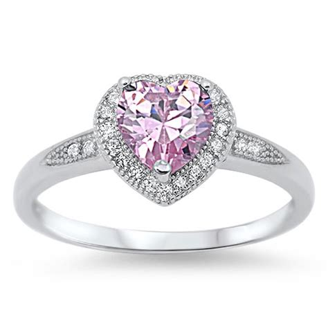 shape pink cz october birthstone promise sterling