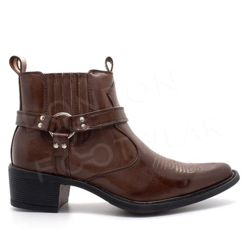 slip on biker boots new mens western cowboy ankle boots cuban heel slip on