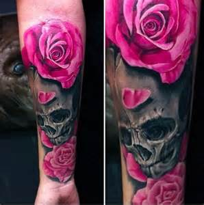 pink roses and skull tattoo tattooconnection