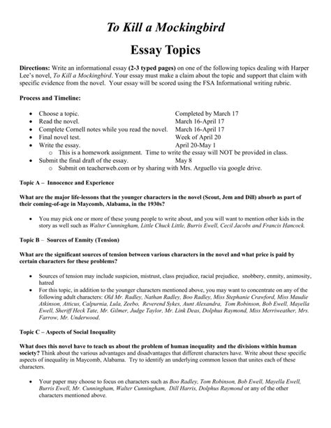 Essay Topics and Reading Schedule