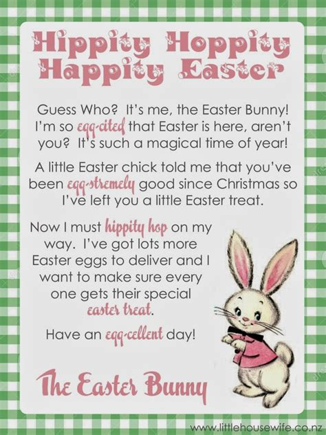 Free Printable Letters From The Easter Bunny | little housewife letter from the easter bunny