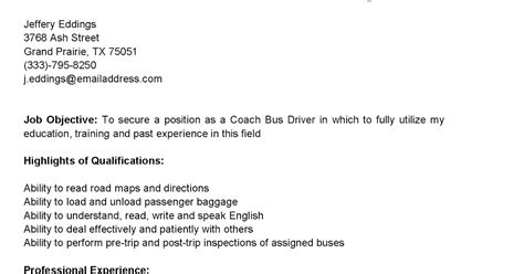 Coach K Resume by Driver Resumes Coach Driver Resume Sle