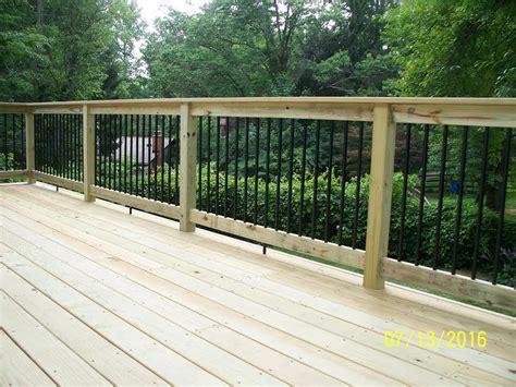 standard deck standard deck with pressure treated handrail black