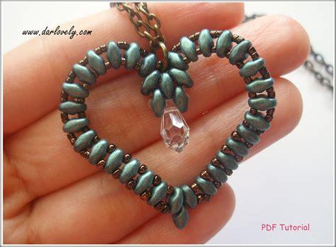 free patterns using superduo beads beaded pendant tutorial pattern superduo heart pendant