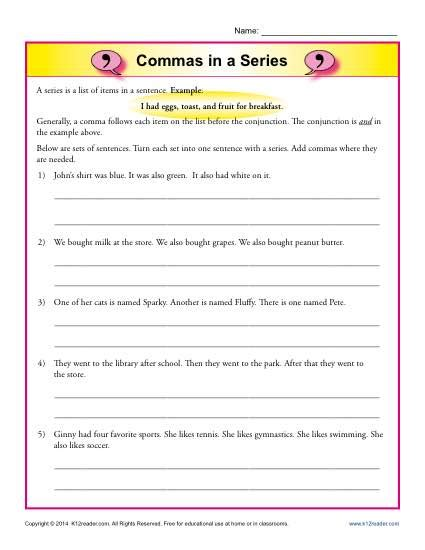 Commas Worksheet 5th Grade by Commas In A Series Comma Worksheets