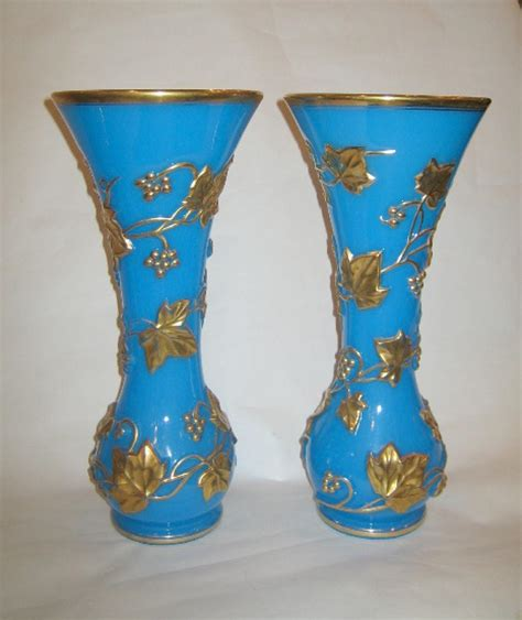 Antique Crystal Vase Pair Antique Baccarat Opaline Glass Vases In Sold French