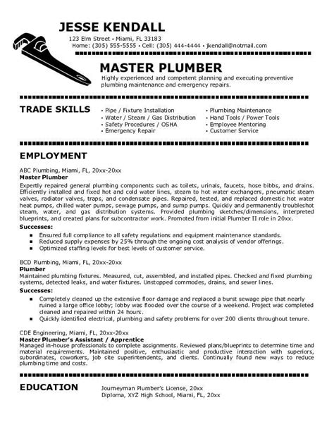 Plumber Apprentice Sle Resume by Plumbers Cover Letter For Plumber Resumes Career Inspirations