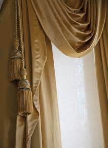 Curtains With Tassels Style Window Treatments In Bronze Satin Fabric With Tassels And Swags Traditional