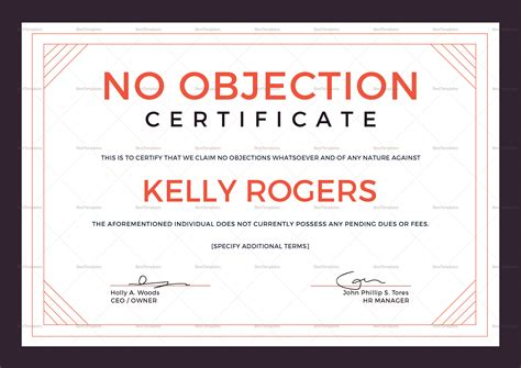 no objection certificate design template in psd word