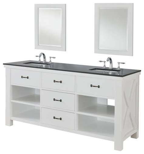 Black Bathroom Vanity With White Marble Top Xtraordinary Spa 70 Quot White Vanity Black Granite Top And Mirrors Transitional Bathroom