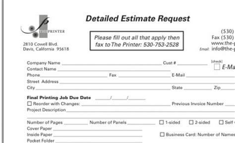 estimate request form ordering the printer quality offset digital printing