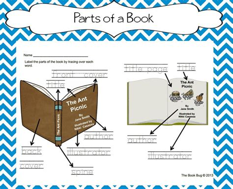 sections of a book the book bug freebies