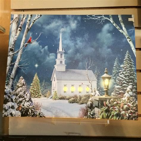 lighted church canvas lighted led church winter canvas gift shops