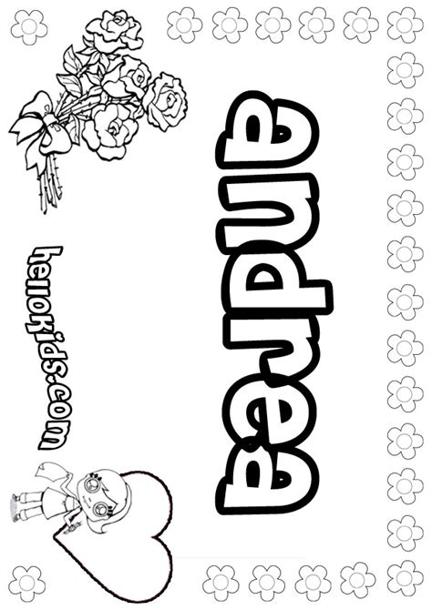 Coloring Pages Of The Name Andrea | girls name coloring pages andrea girly name to color