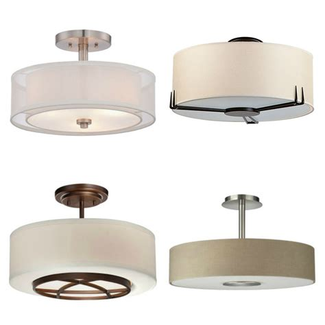 Drum Shade Light Fixtures Affordable And Stylish Semi Flush Mount Light Fixtures