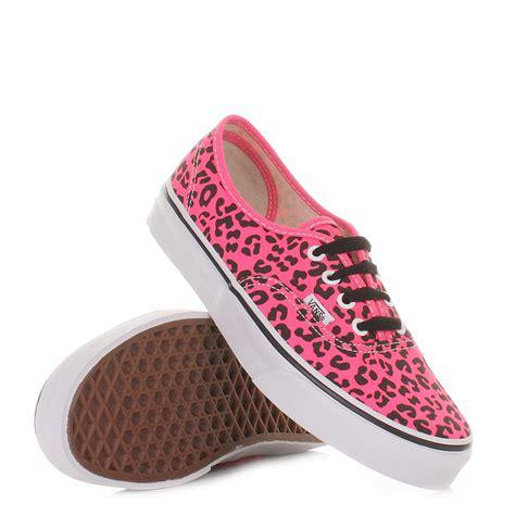 Flat Shoes Import Black Pink womens vans authentic neon leopard pink black shoes