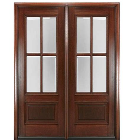 2 4 Exterior Door Mai Doors Dd4l 2 True Divided Lite 6 8 Quot 4 Lite Panel Bottom Mahogany Exterior Door