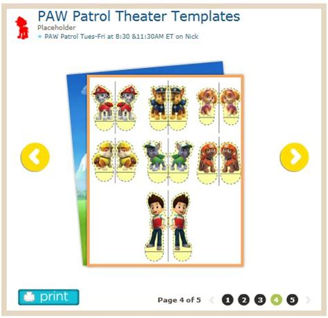 paw patrol templates 5 pages puppet theater http www nickjr