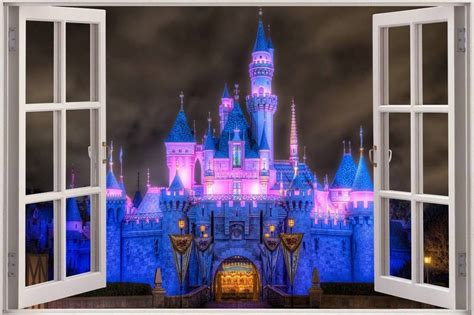 princess castle wall stickers enchanted princess castle 3d window decal wall sticker home decor wallpaper ebay