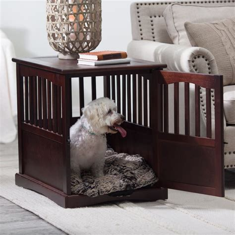 cage end table indoor wooden crate large pet kennel cat bed puppy