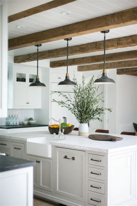 big pendant lights rustic beams and pendant lights a large kitchen
