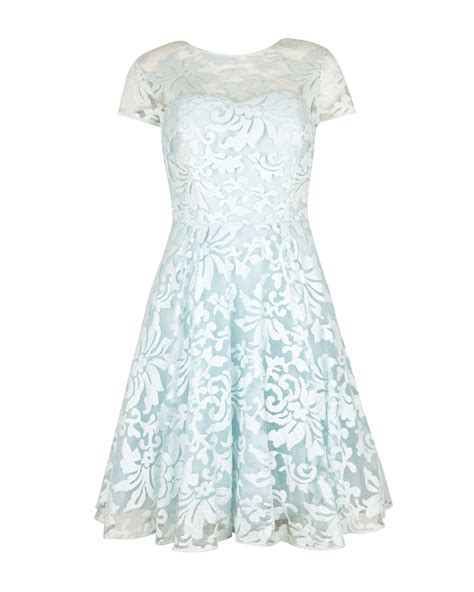 flower lace dress ted baker caree floral lace dress in blue lyst