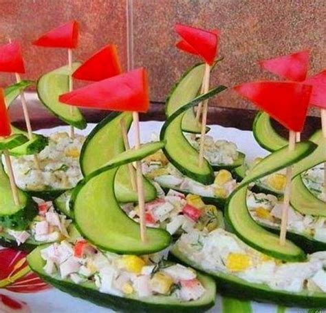 cucumber boat appetizer nautical themed party appetizers salad fun food