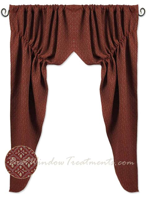 red swag curtains philmont jacquard barn red prairie swag curtains