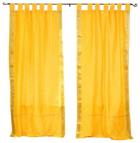 Yellow Sheer Curtains Yellow Tab Top Sheer Sari Curtain Drape And Panel Pair Contemporary Curtains By Indian