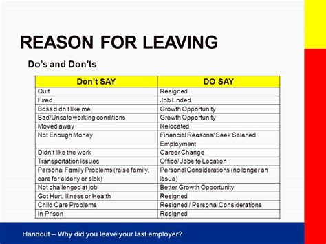 best reasons for leaving a job on a resume