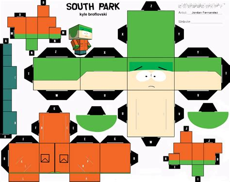 Cubee Papercraft - south park kyle cubee template by jordof131 on deviantart