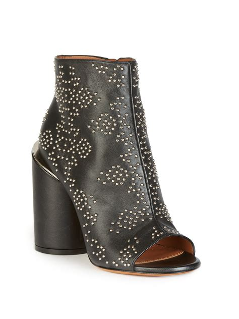 Givenchy 3008bs Side Studed lyst givenchy edgy studded peep toe bootie in black