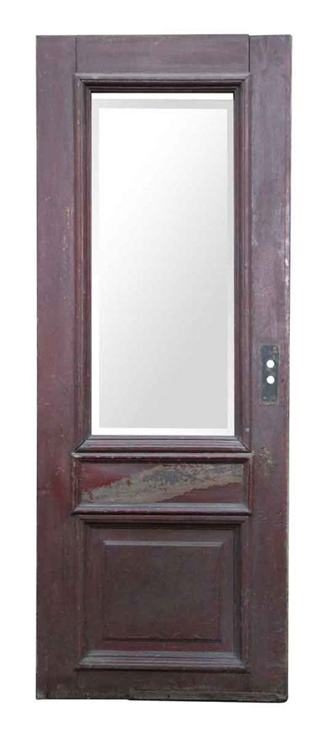 Glass Panel Doors Exterior Wooden Door With Large Beveled Glass Panel Olde Things