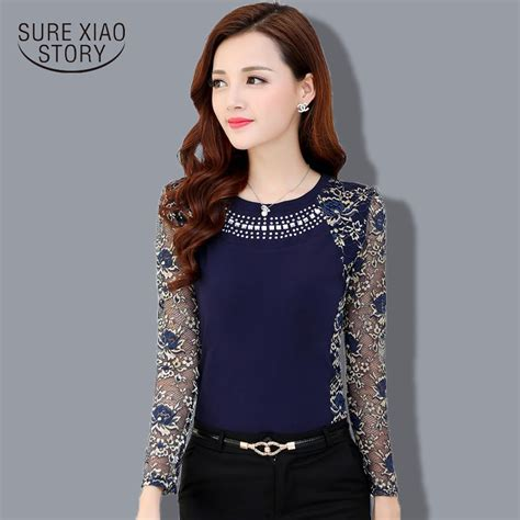 Blouse Mayang Creoe Fit Xl 2015 autumn slim patchwork plus size lace blouse