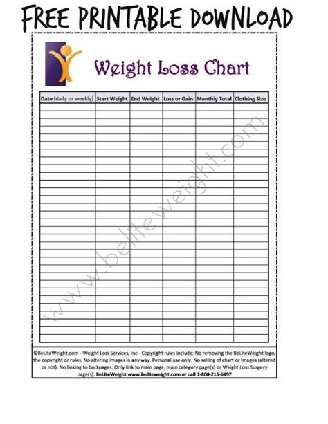 Weight Loss Record Template by Free Printable Weight Loss Chart Weight Record Chart