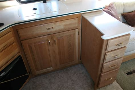 Motorhome Cupboards - pull out drawer island for additional counter space