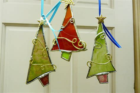 whimsical stained glass christmas trees ornament suncatchers